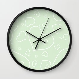 Palest Green and White Hand Drawn Hearts Pattern Wall Clock