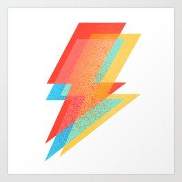 Bowie Ziggy Lightning Bolt Illustration Pattern Art Print