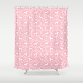 Great Dane floral silhouette dog breed pattern minimal simple pink and white great danes silhouettes Shower Curtain