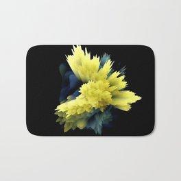 yellow indigo blue flower abstract 3d painting Bath Mat