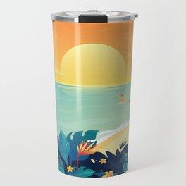 Sunset Beach Illustration Travel Mug