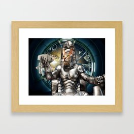 Robot Space Cat Framed Art Print