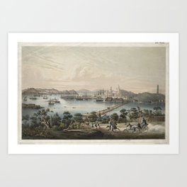 Vintage Pictorial Map of Boston MA (1866) Art Print