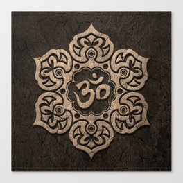 Aged Stone Lotus Flower Yoga Om Canvas Print
