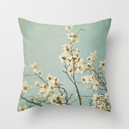 Magnolia blossoms. Mint Throw Pillow
