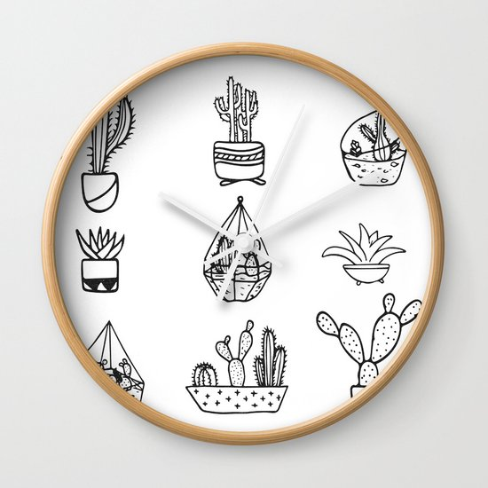 Minimalist Cacti Collection Black And White Wall Clock By