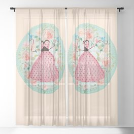 Roses, Bluebirds And The Perfect Polka Dot Party Dress Sheer Curtain