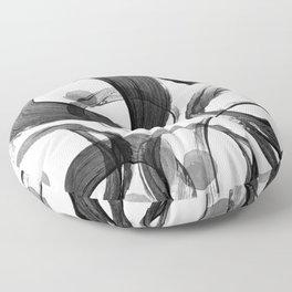 Modern abstract black white hand painted brushstrokes Floor Pillow