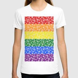 Christmas Pride Bright Festive Rainbow Snowflakes T-shirt