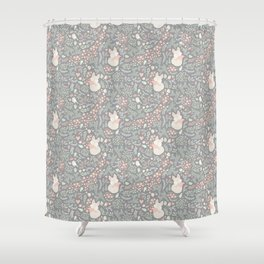 Sleeping Fox - grey pattern design Shower Curtain