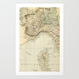 Vintage Retro Map Northern Italy Art Print