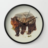 andreas preis Wall Clocks featuring Wild Grizzly Bear by Andreas Lie