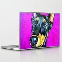 doberman Laptop & iPad Skins featuring Jersey the Doberman by pawtraitz