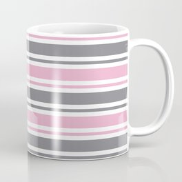 Pastel Pink & Gray & White Stripe Pattern Coffee Mug