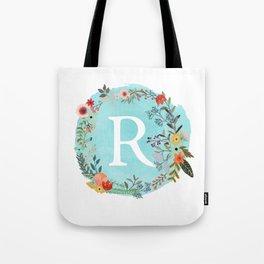 Personalized Monogram Initial Letter R Blue Watercolor Flower Wreath Artwork Tote Bag