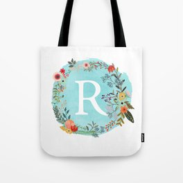 Personalized Monogram Initial Letter R Blue Watercolor Flower Wreath Artwork Tote Bag