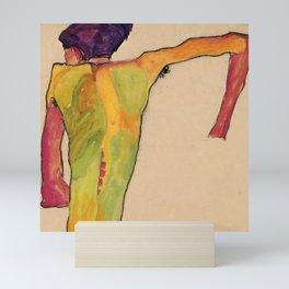 "Egon Schiele ""Male Nude, Propping Himself Up"" Mini Art Print"