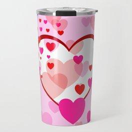 Flying Hearts pink red white Travel Mug