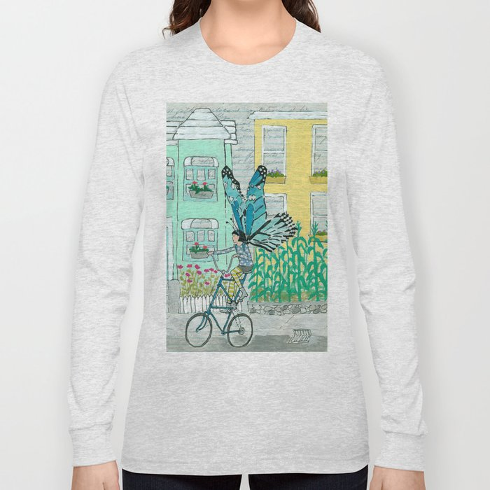 73a231b92 Butterfly on a Tallbike Long Sleeve T-shirt by amyriceart