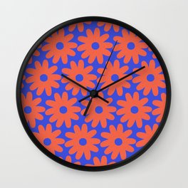 Crayon Flowers 3 Cheerful Smudgy Floral Pattern in Coral and Bright Blue Wall Clock