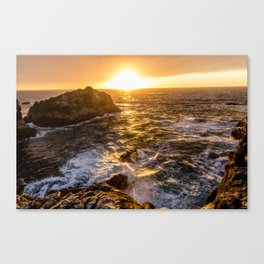 In Waves - Waves Crashing Into Rocks at Sunset In Big Sur Canvas Print