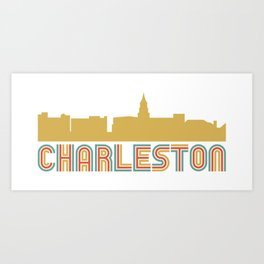 Vintage Style Charleston South Carolina Skyline Art Print