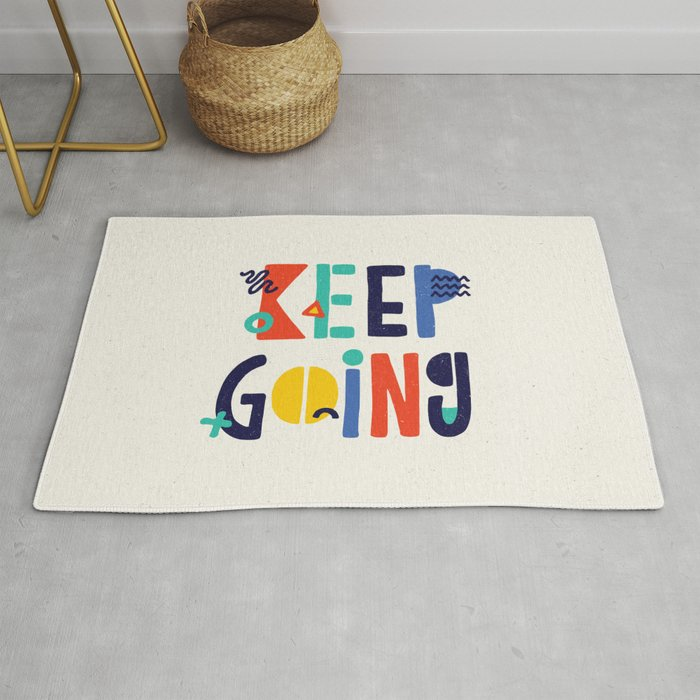 Keep Going Colorful Memphis Typography Funny Poster Hand Lettered Bedroom Wall Home Decor Rug By Themotivatedtype
