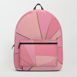 Modern abstract pink polygon artistic geometric with gold line background illustration Backpack