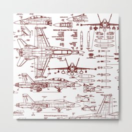 F-18 Blueprints // Red Ink Metal Print
