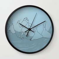 wolves Wall Clocks featuring wolves by godigo