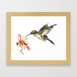 Hummingbird and Flower Framed Art Print