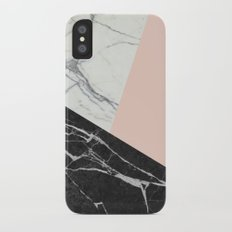 Black and white marble with pantone pale dogwood Slim Case iPhone X