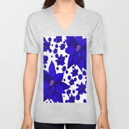 Poinsettia Blue Indigo Pattern Unisex V-Neck