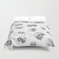 skulls Duvet Covers featuring SKULLS by Vickn
