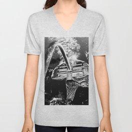 Black And White Basketball Art Unisex V-Neck