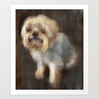 yorkie Art Prints featuring Yorkie by Caroline Mustard