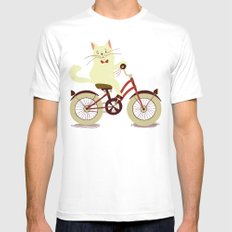 White cat on a bicycle White Mens Fitted Tee X-LARGE