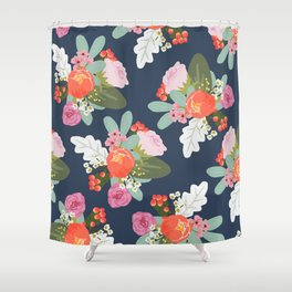 Navy Peach Foral Shower Curtain