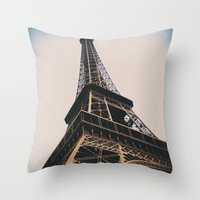 eiffel tower Throw Pillows featuring Eiffel Tower by Christine Workman