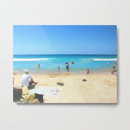 Day At The Beach Looking At The Water Metal Print