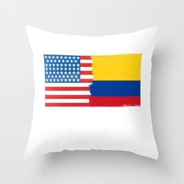 colombian american half colombia half america flag tee Throw Pillow