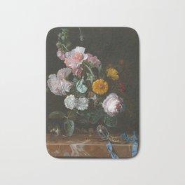 Willem Van Aelst - Vanitas Flower Still Life Bath Mat
