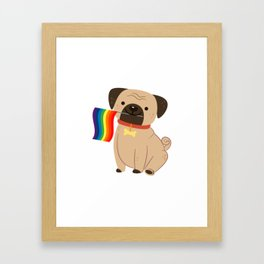 LGBT Gay Pride Flag Pug - Pride Gay Framed Art Print
