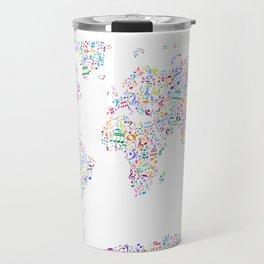 Music Notes Map of the World Travel Mug