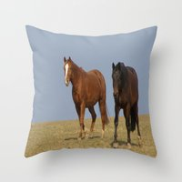 horses Throw Pillows featuring horses by Laake-Photos