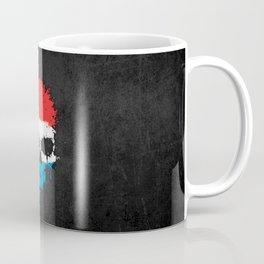 Flag of Luxembourg on a Chaotic Splatter Skull Coffee Mug