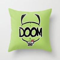 doom Throw Pillows featuring DOOM by Oddworld Art