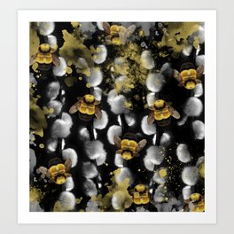 Bumble Bee Willow Art Print