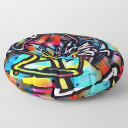 Streetart Chaos Colorful Graffiti Floor Pillow
