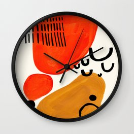 Fun Abstract Minimalist Mid Century Modern Yellow Ochre Orange Organic Shapes & Patterns Wall Clock